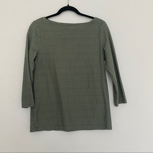 Talbots Olive Green Textured Long Sleeve Tee T-Shirt Size M